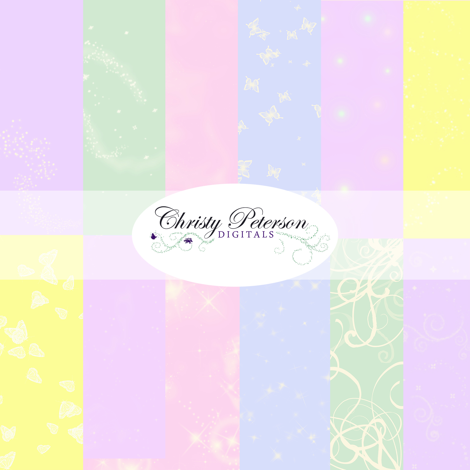 Scrapbook paper cart - Fairy Tale Digital Scrapbook Paper Pastel Tints