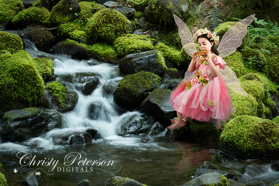 fairy_picture_composite_with_mossy_rock_by_waterfall_and_pond_digital_background