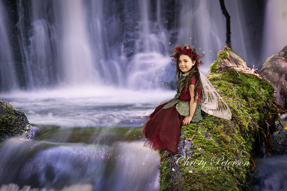waterfall_and_log_digital_background_for_fairy_tale_composite_pictures