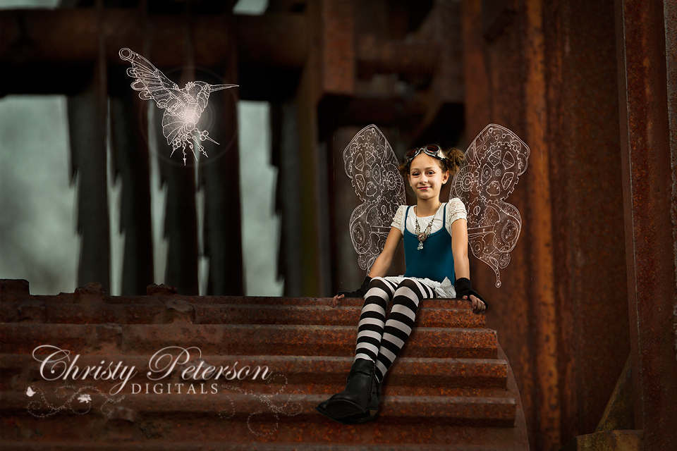 steampunk fairy digital background set with wings and overlays