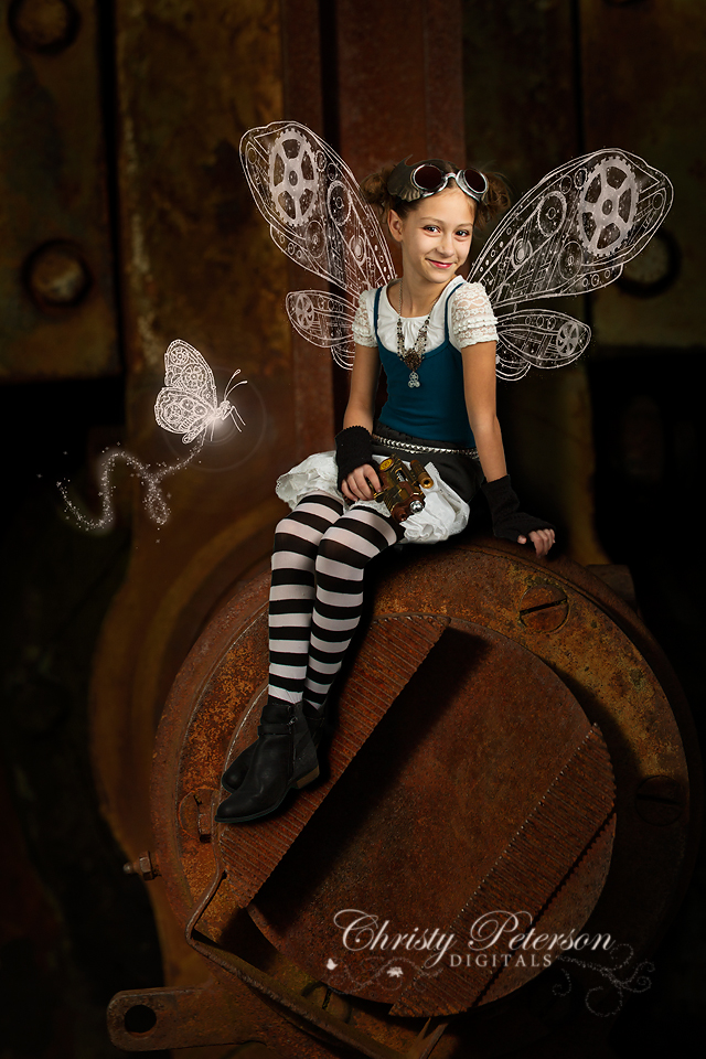 steampunk fairy digital wings, background and overlay set