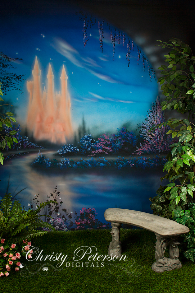 Garden Bench With A Castle Christy Peterson
