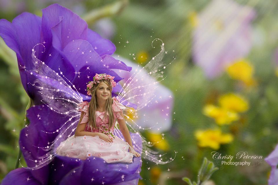purple_flowers_digital_backgrounds_for_photographers_for_composites. composite fairy photo using purple flowers digital background for photographers